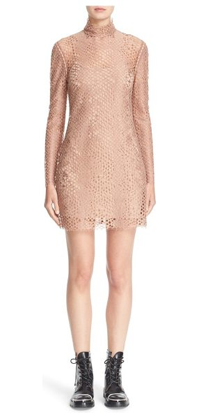 ALEXANDER WANG lace turtleneck dress in terra - Slender leather strips weave unexpected dimension...