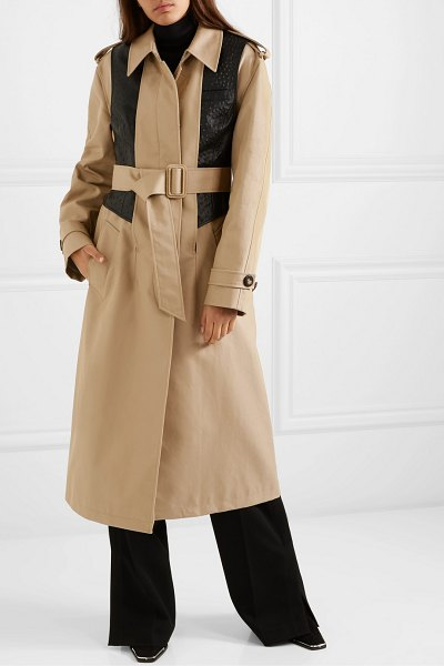 Alexander Wang layered cotton-blend gabardine and ostrich-effect leather trench coat in beige
