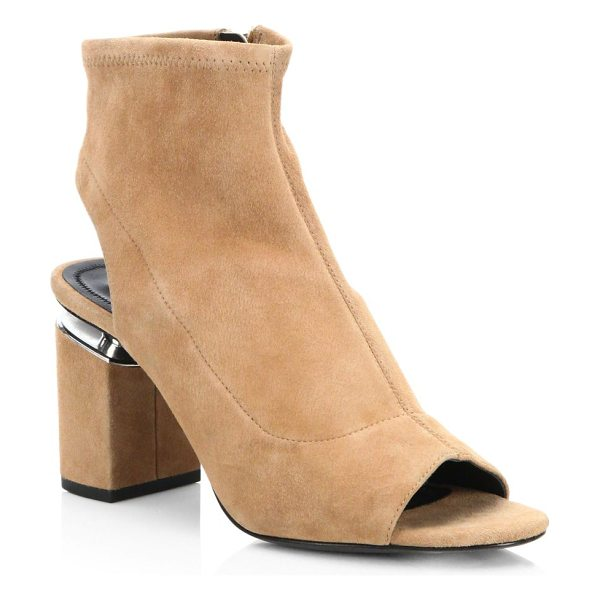 Alexander Wang lena stretch booties in clay - Stretch booties with side zip closure. Stacked heel,...