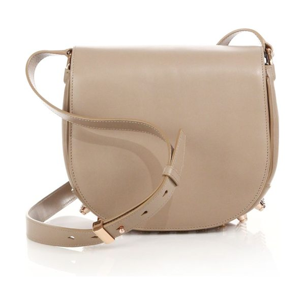 Alexander Wang Lia leather saddle bag in sand - The graceful curve of a saddle bag in a refined shoulder...