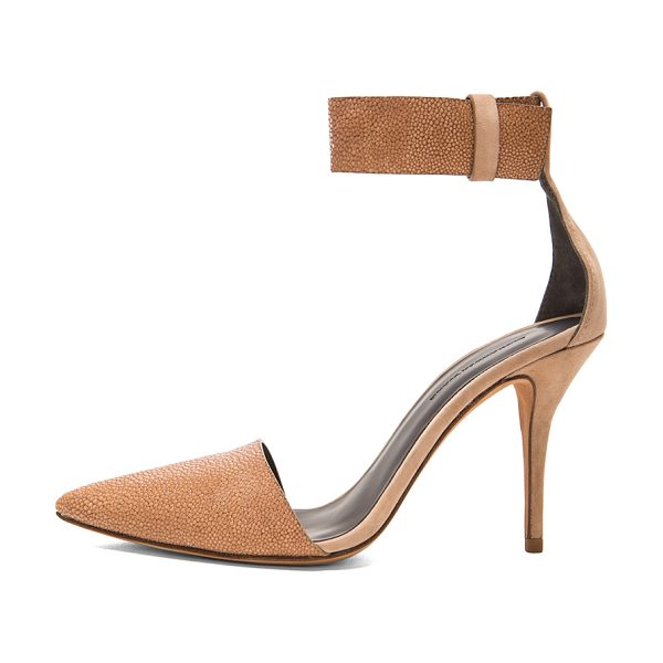 Alexander Wang Lovisa suede ankle strap pumps in neutrals - Suede and padded bombay embossed lambskin leather upper...