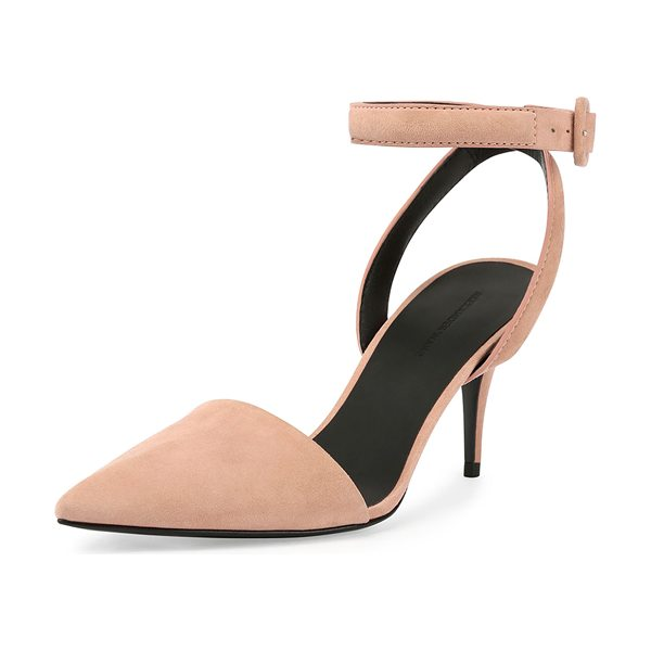 Alexander Wang Lucie Suede Mid-Heel Pump in blush - Alexander Wang suede pump. Covered mid-heel. Pointed...