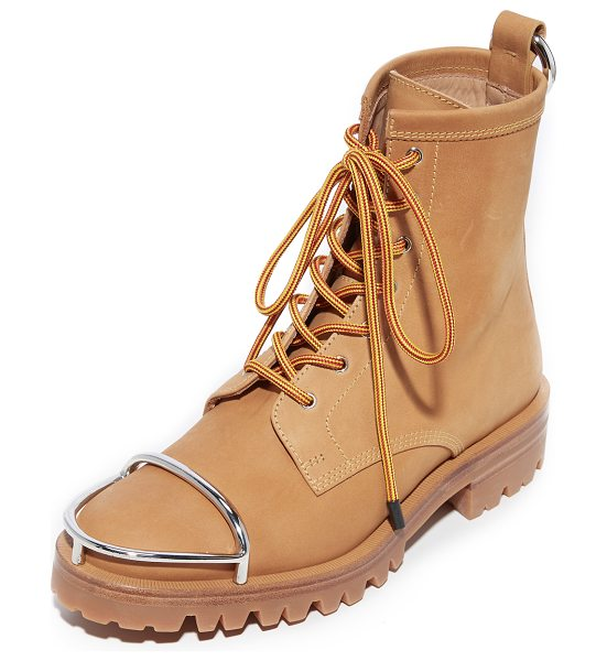 Alexander Wang lyndon combat boots in wheat - Metallic accents add an edgy feel to these soft nubuck...
