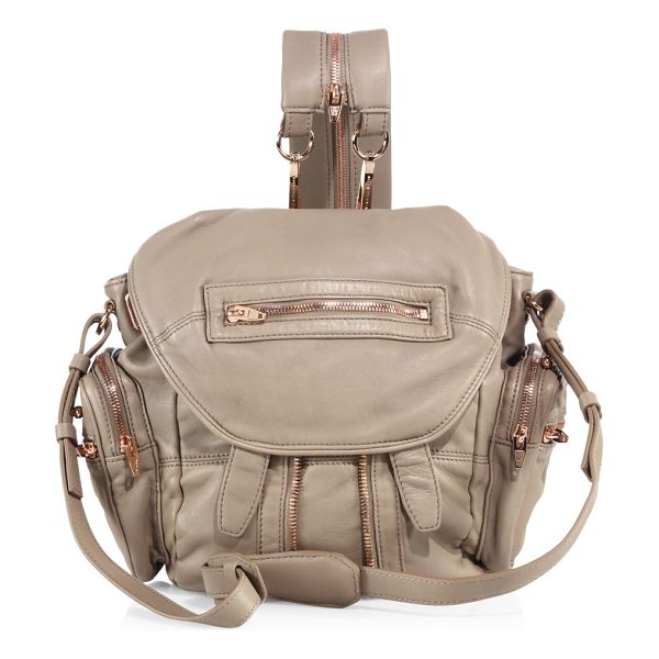 Alexander Wang marti mini leather backpack in latte - Moto-style leather backpack with multi-strap options....