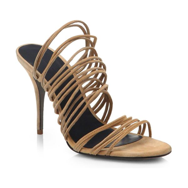 Alexander Wang Mathilde strappy suede sandals in truffle - Rows of slim suede straps shape this sexy silhouette,...