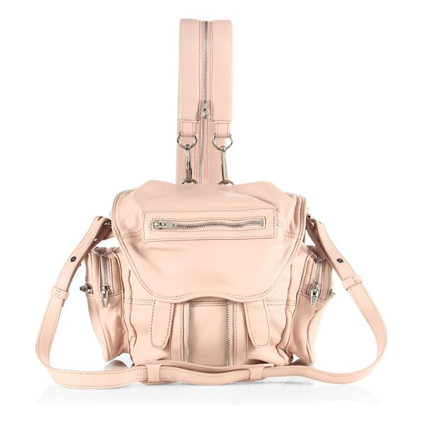 Alexander Wang mini marti convertible leather backpack in pale pink - Versatile backpack converts to a shoulder bag....