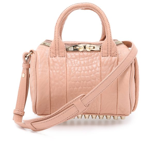 ALEXANDER WANG Mini rockie bag in blush - Textured leather composes this scaled down Alexander...