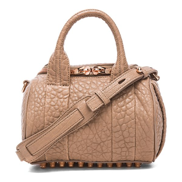 ALEXANDER WANG Mini rockie satchel with rose gold hardware in brown - Pebbled leather with fabric lining and rose gold-tone...