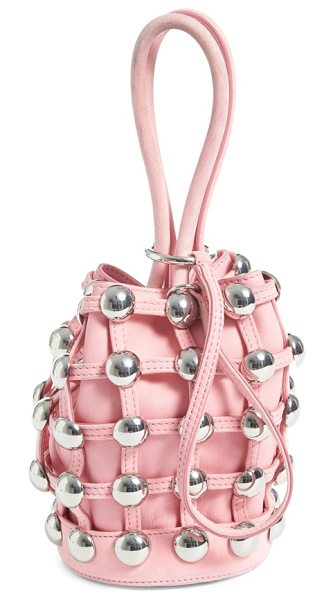 ALEXANDER WANG mini roxy studded suede bucket bag in pink - A stud-embellished suede cage surrounds the slouchy...