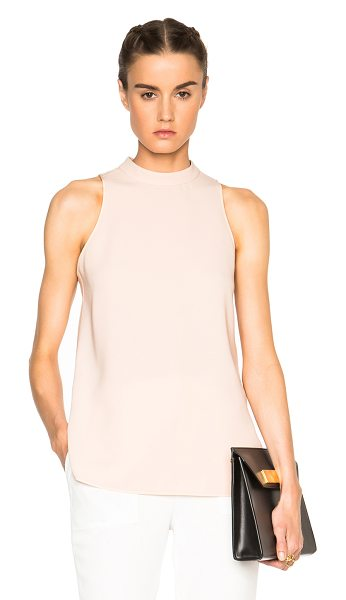 Alexander Wang Mockneck keyhole ties top in neutrals - Self: 65% triacetate 35% poly - Contrast Fabric: 100%...