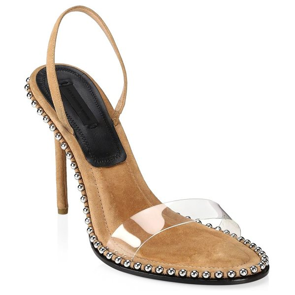 Alexander Wang nova studded pvc & suede slingback sandals in clay