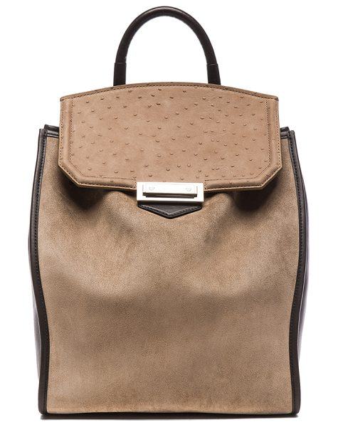 Alexander Wang Prisma backpack in gray,animal print - Suede and leather feature fabric lining with silver-tone...