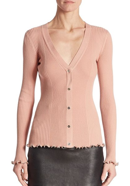 Alexander Wang ribbed v-neck cardigan in blush - Ribbed cardigan with ruffled ball chain hems.V-neck....