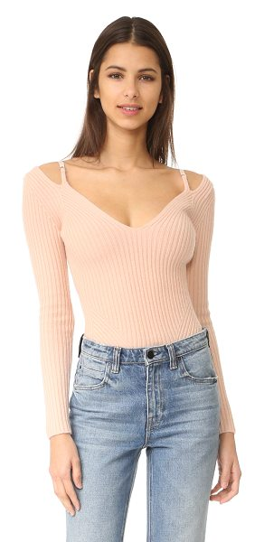 Alexander Wang ribbed lingerie strap sweater in blush - Slim elastic shoulder straps lend lingerie-inspired...