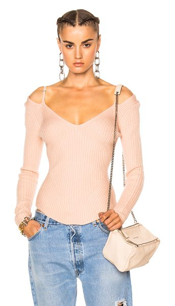 Alexander Wang Ribbed Long Sleeve Top in neutrals,pink - 89% wool 10% polyamide 1% spandex.  Made in China.  Dry...