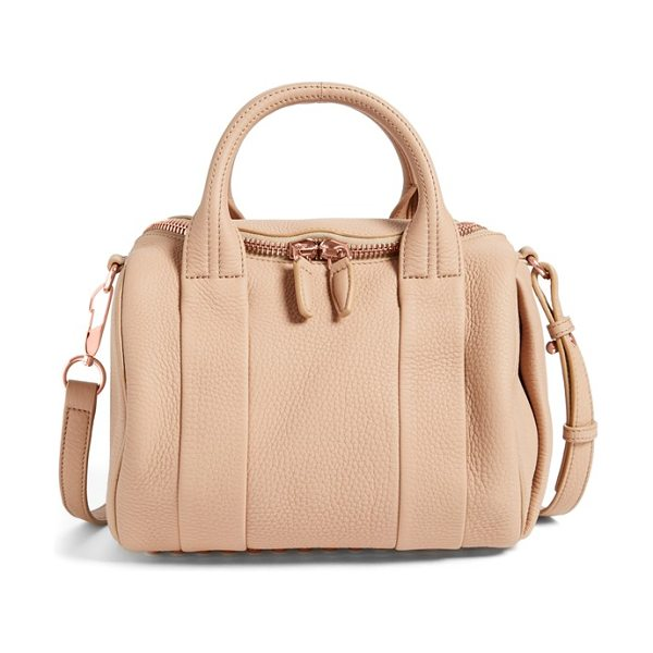 Alexander Wang Rockie dumbo slick leather satchel in truffle - Lushly textured leather is shaped into the...