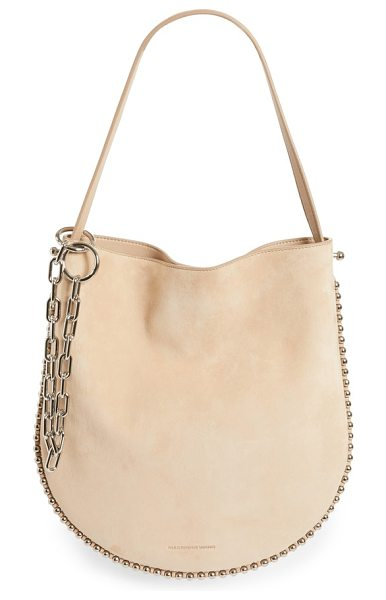 Alexander Wang roxy suede hobo in cashmere - A buttery-soft suede hobo edged in ball chain-inspired...