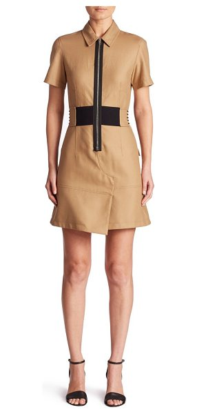 Alexander Wang safari zip-front dress in safari - Elasticized belt with laced detail cinches safari dress....