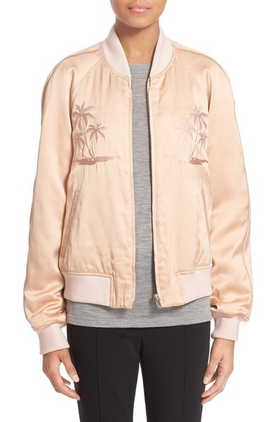 Alexander Wang souvenir embroidered satin jacket in blush - Tonal palm-tree embroidery adds a subtle tropical touch...