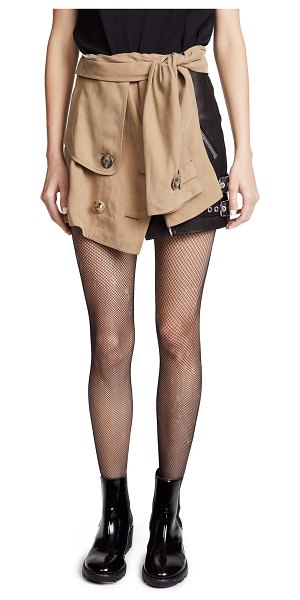 ALEXANDER WANG trench skirt - Fabric: Leather / slinky, sueded weave Crossover snap...