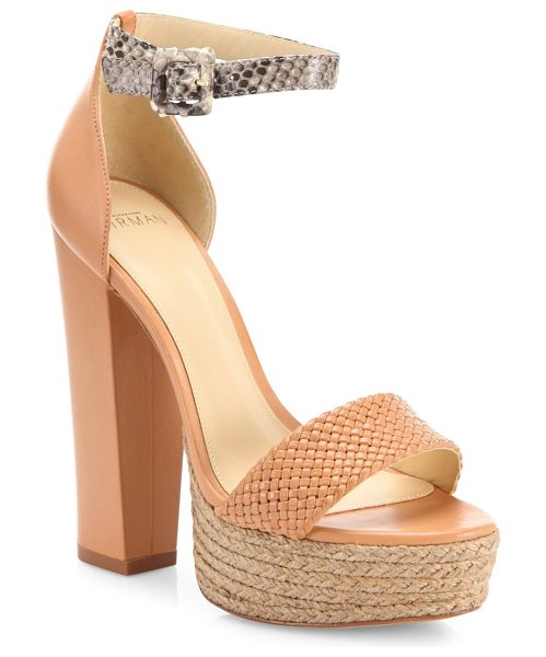 Alexandre Birman Alicia braided leather & python ankle-strap espadrille platform sandals in natural