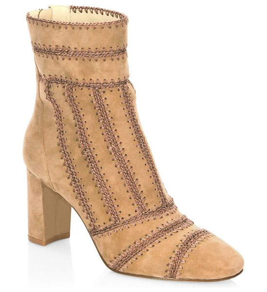 Alexandre Birman beatrice embroidered leather booties in lightbeige