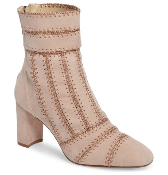 Alexandre Birman beatrice pieced bootie in light beige - Chain-stitch embroidery brings striking texture and...