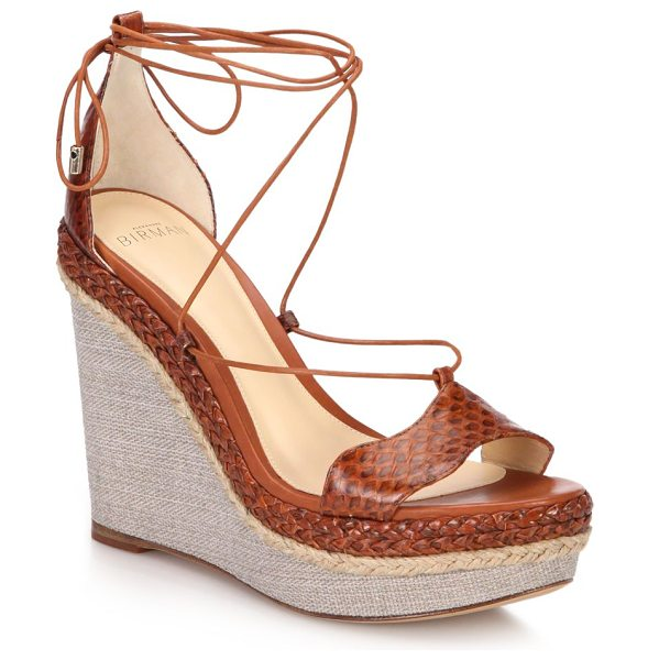 Alexandre Birman Braided python wedge sandals in brown - Espadrille wedge sandal updated in edgy...