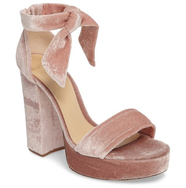 Alexandre Birman celine platform sandal in blush - Colorful flowers are embroidered at the sky-high block...
