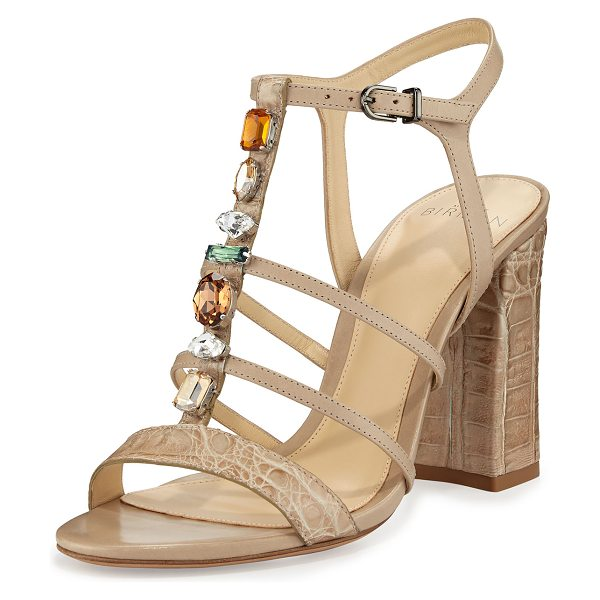 Alexandre Birman Cindy Crocodile 90mm T-Strap Sandal in cream