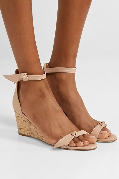 Alexandre Birman clarita bow-embellished leather wedge sandals in sand