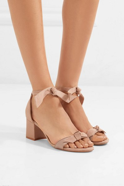 Alexandre Birman clarita bow-embellished suede and satin-twill sandals in beige - You can easily spot a pair of Alexandre Birman's heels...