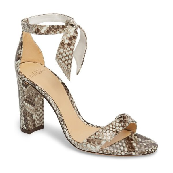 Alexandre Birman clarita genuine python ankle tie sandal in natural - A knotted bow at the vamp beautifully echoes the...