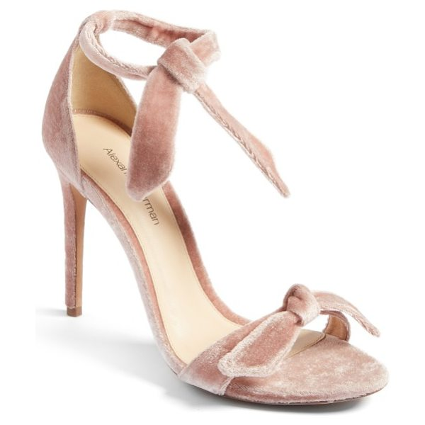 Alexandre Birman clarita sandal in blush velvet - A knotted detail embellishes the velvety toe strap of an...