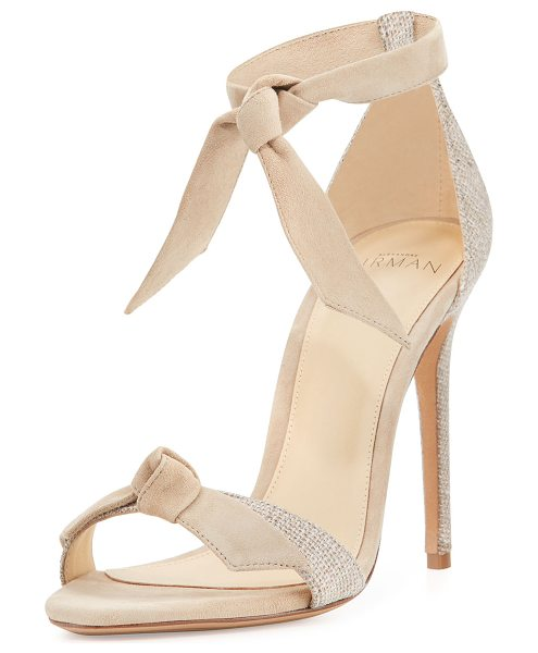 "Alexandre Birman Clarita Suede & Linen 100mm Sandal in soft beige - Alexandre Birman kid suede and linen sandal. 4"" covered..."