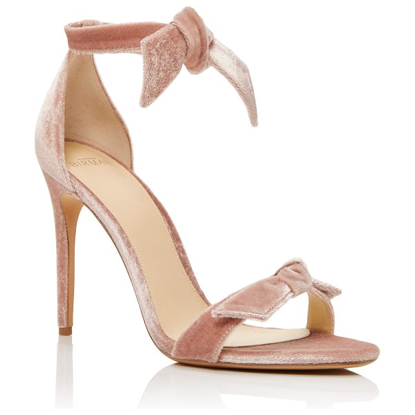 ALEXANDRE BIRMAN Clarita Velvet Sandals in light pink - One of Brazil's most esteemed luxury footwear designers...