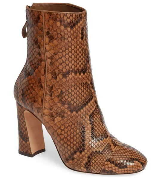 Alexandre Birman corella exotic genuine python bootie in brown - Gorgeous, exotic genuine python skin is pieced in panels...