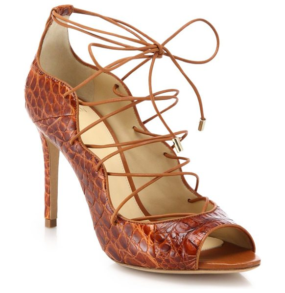 Alexandre Birman Crocodile lace-up sandals in brown - Sexy lace-up sandal in bold crocodileSelf-covered heel,...