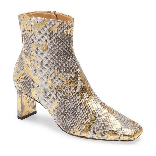 Alexandre Birman exotic square toe bootie in metallic
