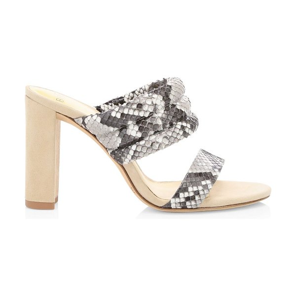 Alexandre Birman fabby snakeskin & suede mules in natural