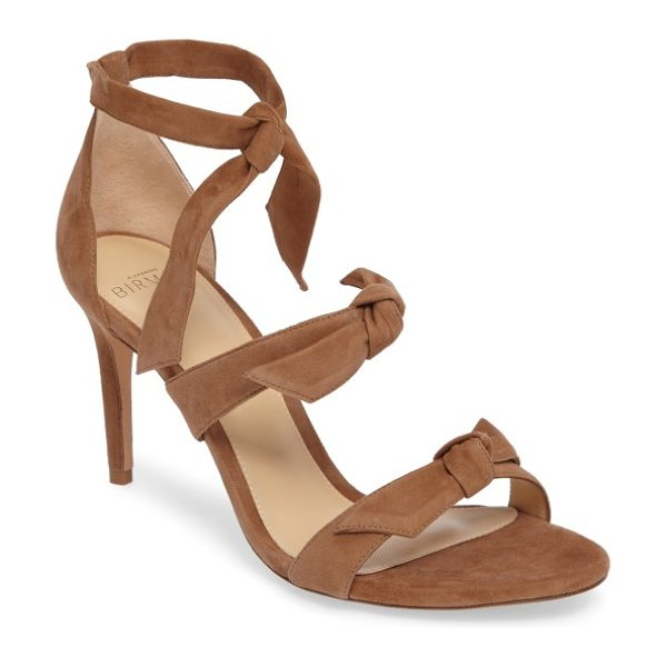 Alexandre Birman gianna sandal in light beige - Slim straps with elegant ties top an eye-catching sandal...