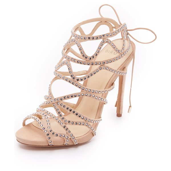 ALEXANDRE BIRMAN Glam sandals in nude - Rhinestones detail the wavy straps on these glamorous,...