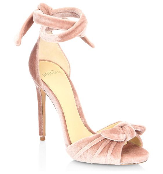 Alexandre Birman jessica velvet ankle-wrap sandals in blush - Graceful sandals rendered in a monotone silhouette....