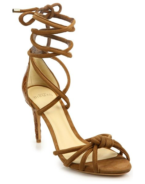 Alexandre Birman lanna suede & crocodile ankle-wrap sandals in beige - Strappy knotted suede sandal with luxe crocodile heel....