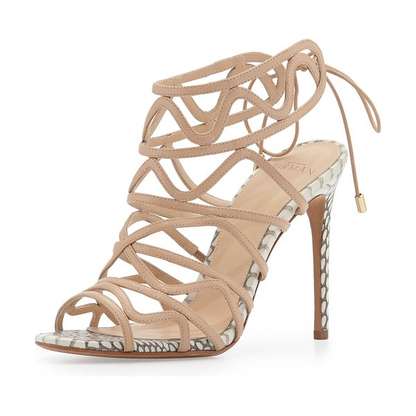 "Alexandre Birman Leather and snakeskin wavy tie-back pump in nude/natural - Alexandre Birman goat suede and cobra snakeskin pump. 4""..."