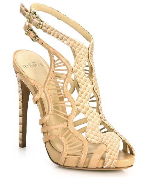 Alexandre Birman loretta python & leather cutout cage sandals in nude - Striking python accents wavy leather cage sandal....