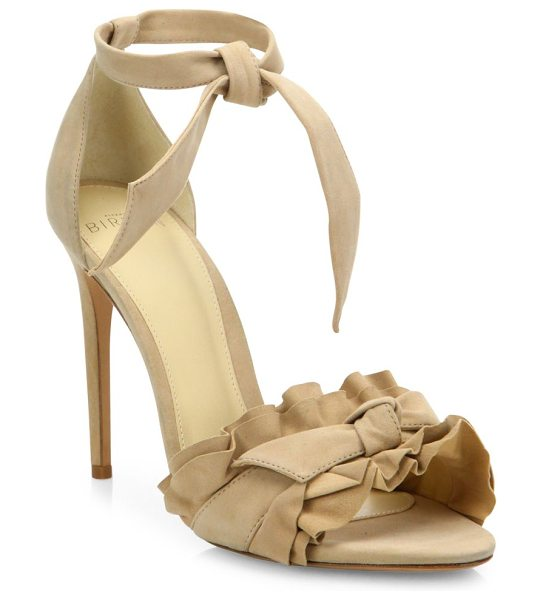 Alexandre Birman lupita ruffled suede ankle-strap sandals in nude - Sultry suede ankle-strap sandal with ruffled toe band....