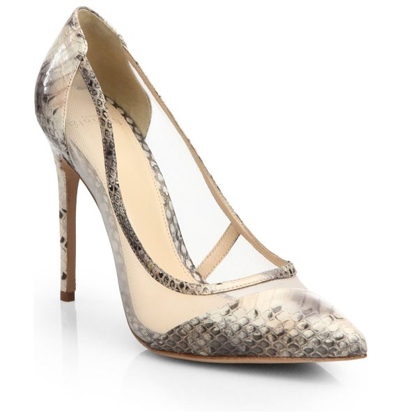 Alexandre Birman Mesh snakeskin pumps in blumnude - Mesh panels lend a sultry edge to these luxurious...