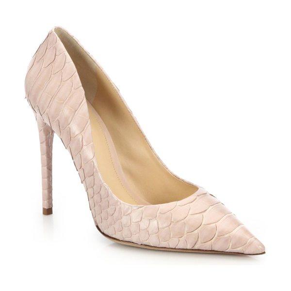 Alexandre Birman Olga python pumps in nude - Point-toe pump in softly blushed pythonSelf-covered...