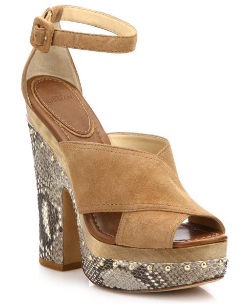Alexandre Birman Peggy suede & python platform clog sandals in beige - A naturalistic, wooden midsole grounds this chunky...